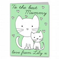 Colour your own Cat Birthday Card for Mummy, Nana, Grandma or Granny.