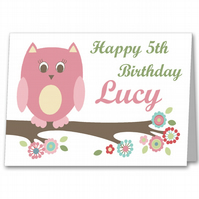 Owl Personalised Girls Birthday Card for 1st, 2nd, 3rd, 4th, 5th, 6th, 7th, 8th