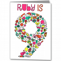 Personalised Girls Fun Doodle Birthday Card 3rd 4th 5th 6th 7th 8th 9th,
