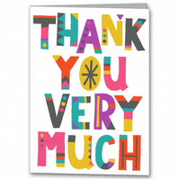 Colourful Thank you Card, Typography, Geometric Thankyou Card, Modern Thanks