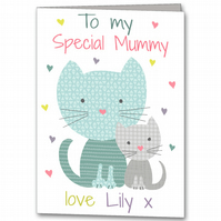 Cat Mother's Day Card, Childrens Special Mummy Card, Step Mum Card