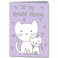 Childrens Colour your own Mother's Day Card, Cat Special Mummy Card
