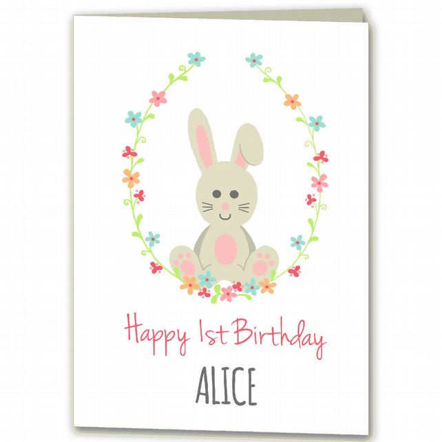 Personalised Rabbit, Bunny 1st, 2nd, 3rd Birthday Card for Girl, Daughter, Niece