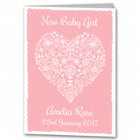 Personalised New Baby Girl Card, Christening Congratulations Card