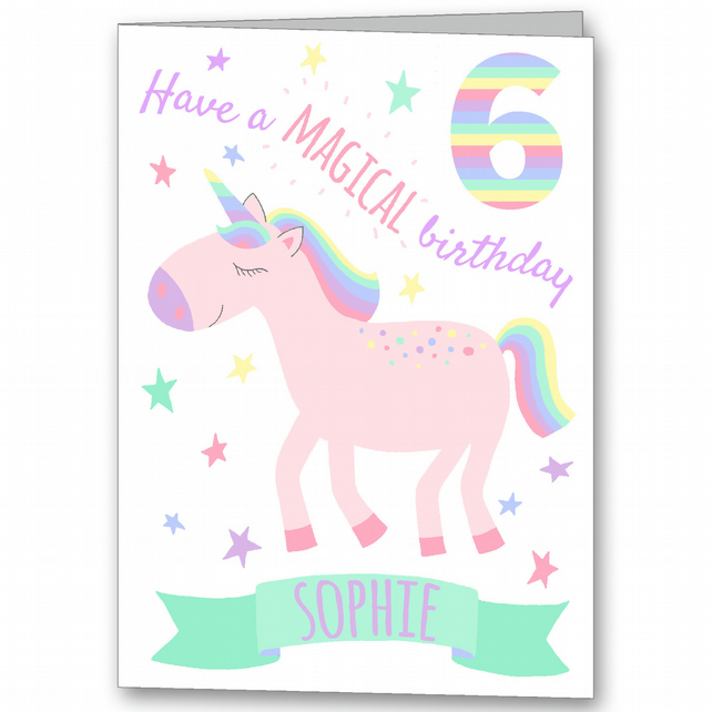 Unicorn Personalised Birthday Card, Girls 4th, 5th, 6th, 7th, 8th, 9th Card
