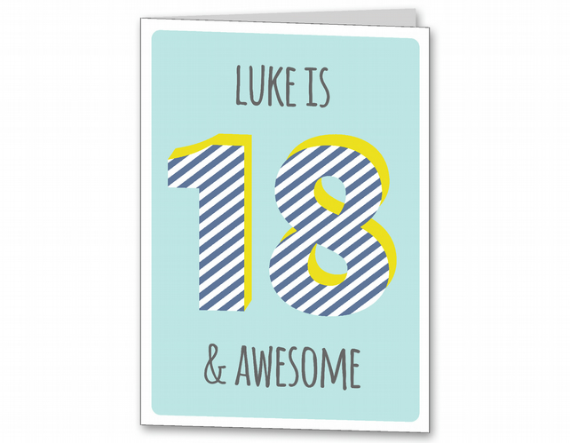 Personalised 18th, 21st Birthday Card, Male, Mens age 18, 21 card.