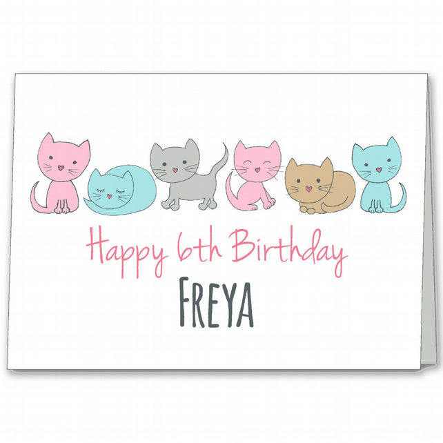 Cat Personalised Birthday Card, Girls 1st, 2nd, 3rd, 4th, 5th, 6th, 7th Card