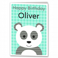 Panda Birthday Card, Childrens, Kids Personalised Card