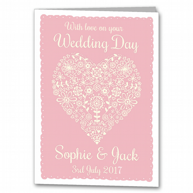 Personalised Heart Wedding Card, Special Couple Card