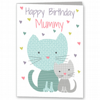 Mummy, Step Mum, Granny, Grandma or Nana Cat Birthday card.
