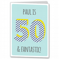Personalised Mens 50th Birthday Card, Male age 50 card.