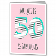 Personalised Ladies 50th Birthday Card, Female age 50 card.