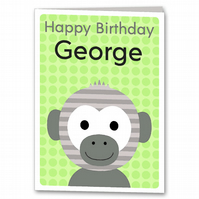 Monkey Birthday Card, Childrens, Kids Personalised Card
