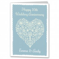 Personalised Pretty Heart Wedding Anniversary Card.