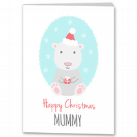 Childrens Polar Bear Christmas Card for Mummy, Daddy, Nana, Grandad, Grandpa