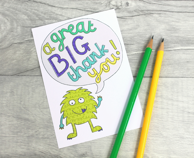 Monster Thank You Notecards, Childrens Thankyou Notes, Boys Thank you Card Pack