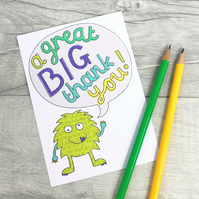Monster Thank You Notecards, Childrens Thankyou Notes, Boys Thank you Card