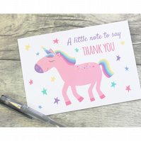 Unicorn Thank You Notecards, Childrens Thankyou Notes, Girls Thank you Card Pack