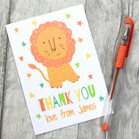 Personalised Thank You Notecards, Childrens Lion Thank you Card Pack