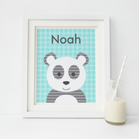 Panda Personalised Print, Childrens Wall Art, Boys and Girls Nursery Decor