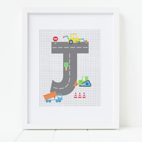 Boys Digger Print, Personalised Initial Print, New Baby Gift, Wall Art for Boy