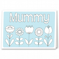 Colouring Mother's Day Card, Colour your own Card for Step Mum, Nana, Grandma