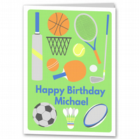Mens Birthday Card, Male Sport Card, Personalised for Dad, Husband, Brother, Son