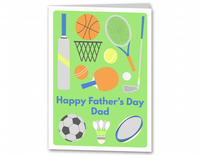 Sports Father's Day Card, Personalised Card for Dad, Step Dad.