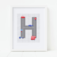 Boys Transport Print, Personalised Initial Print, Car, Bus Nursery Wall Art
