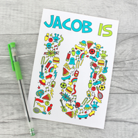 Boys Personalised Doodle Birthday Card 4th, 5th, 6th 7th, 8th, 9th, 10th
