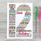 Girls 9th, 10th, 11th, 12th, 13th Birthday Card, Fun, Colourful Age card