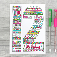 Fun 9th, 10th, 11th, 12th, 13th Birthday Card, Colourful Girls Age card