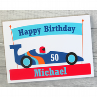Personalised Racing Car Birthday Card for Dad, Brother, Son, Grandad.