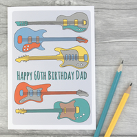 Personalised Guitar Birthday Card 18th, 21st, 30th, 40th, 50th, 60th