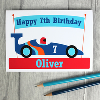 Boys Personalised Racing Car Birthday Card 3rd, 4th, 5th, 6th, 7th, 8th, 9th,