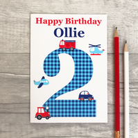 Boys Car, Tractor, Fire Engine Birthday Card 1st, 2nd, 3rd, 4th, 5th