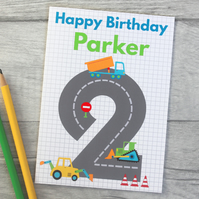 Boys 1st, 2nd, 3rd, 4th, 5th Digger Personalised Birthday Card.
