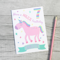 Unicorn 4th, 5th, 6th, 7th, 8th, 9th Personalised Birthday Card.