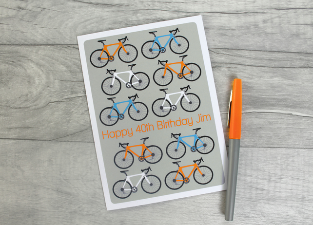 Personalised Bicycle Birthday Card 18th, 21st, 30th, 40th, 50th, 60th