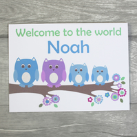 Personalised Owl New Baby Boy Card , Birth Congratulations Card, Twin Baby Card