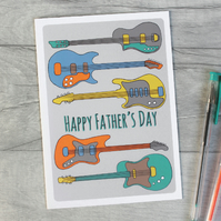 Guitar Father's Day Card, Personalised Card for Dad, Step Dad.