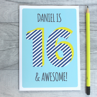 Personalised boys, teen birthday card, Graphic teenage age card