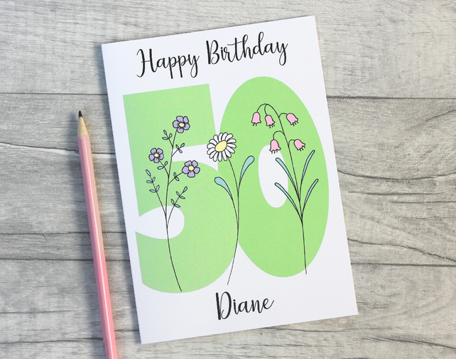 Personalised 40th, 50th, 60th, 70th, 80th, 90th Floral Birthday Card