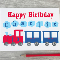 Boys Personalised Train Birthday Card 1st, 2nd, 3rd, 4th, 5th, 6th 7th