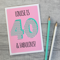 Ladies 30th, 40th, 50th, Personalised Birthday Card, Female Age Card.