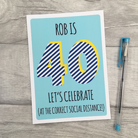 Personalised Mens 30th, 40th, 50th, Birthday Card, Male Age Card.