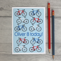Boys Personalised Bicycle Birthday Card.