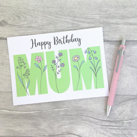Wildflower Mum Birthday Card, Pretty Floral card for Mother.