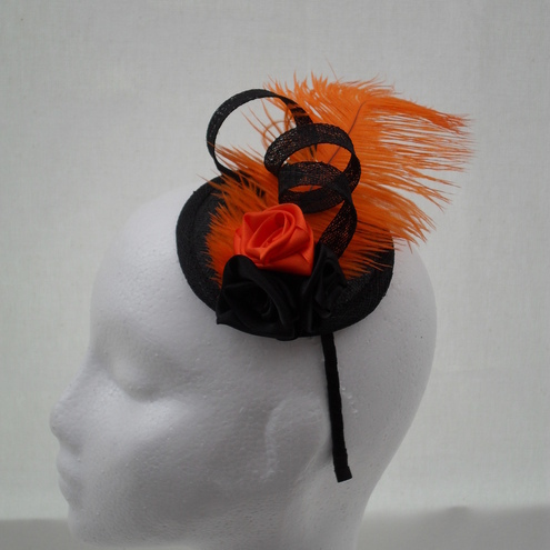 Handmade Fascinator Black, Orange Feather  Roses