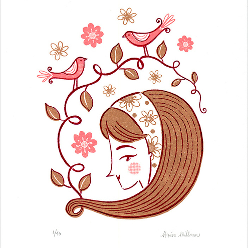 Spring is in the Hair - Limited Edition Gocco Screenprint